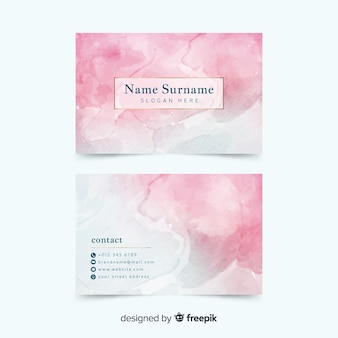Pink watercolor abstract business card