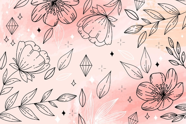 Pink watercolor background and hand drawn flowers