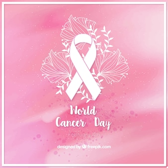 Pink watercolor background with cancer day ribbon and floral details