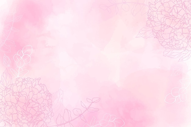 Pink watercolor background with drawn flowers