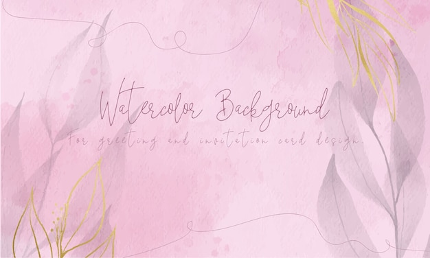 Pink watercolor background with golden foil leaves for greeting and invitation card design.