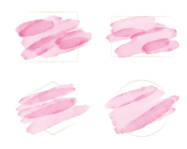 Розовая акварель кисти с золотой рамкой для логотипа или баннера коллекции