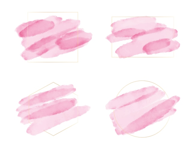 Pink watercolor brush stroke with golden frame for logo or banner collection
