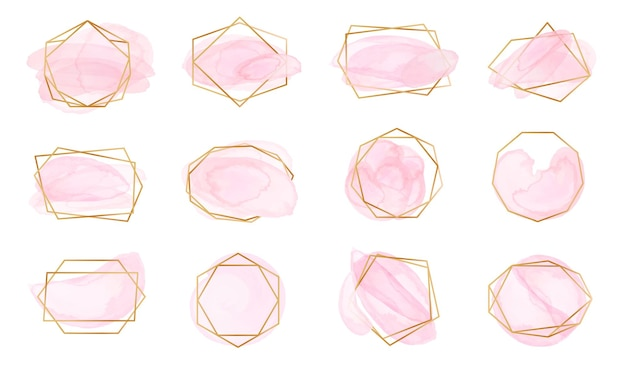 Pink watercolor brush strokes with geometric gold frames. pastel rose labels with abstract polygonal shapes, elegant fashion logo vector set. golden glossy borders with spots or splashes for wedding