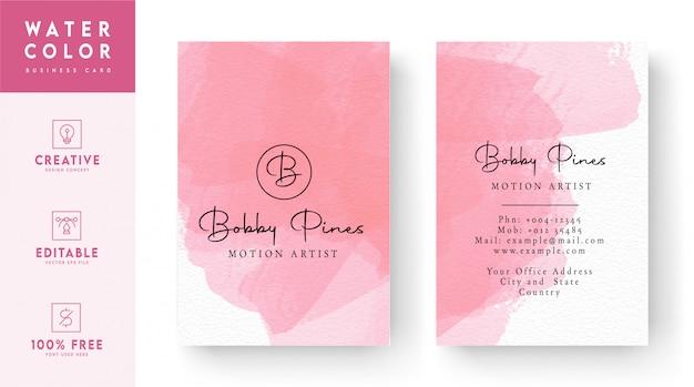 ピンクの水彩名刺-カラフルな名刺テンプレート