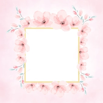 Pink watercolor cherry blossom golden frame