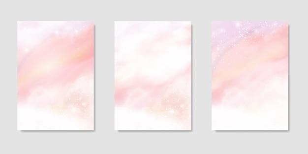 背景のピンクの水彩雲セット