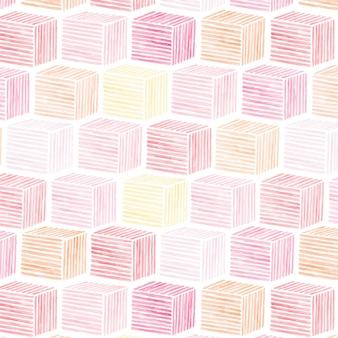 ピンクの水彩キュービックパターンシームレス背景ベクトル