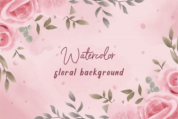 Pink watercolor floral background with vintage style