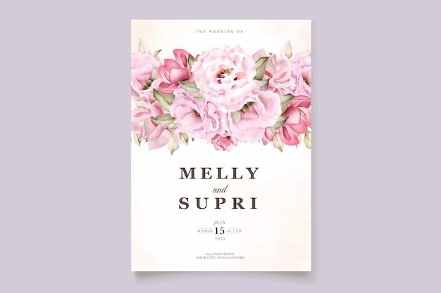 Розовая акварель цветочная открытка