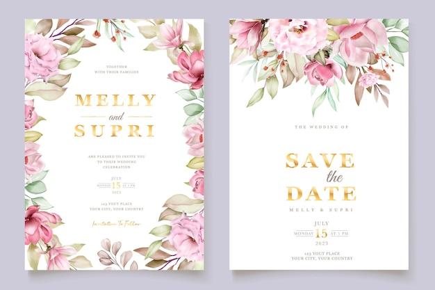핑크 수채화 꽃 카드