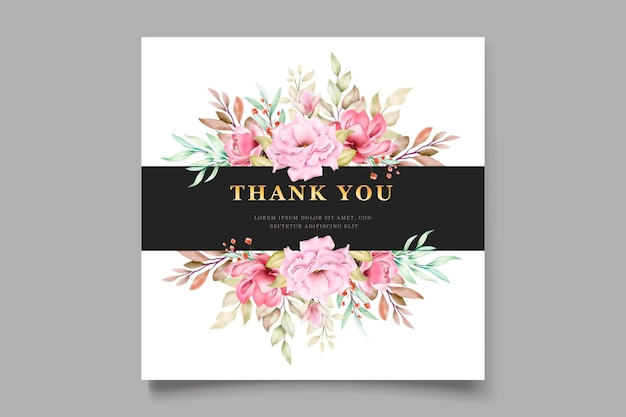 Pink watercolor floral card