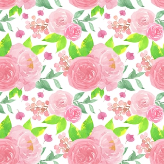 Pink watercolor floral seamless pattern with beautiful roses