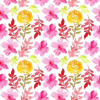 Pink watercolor floral seamless pattern