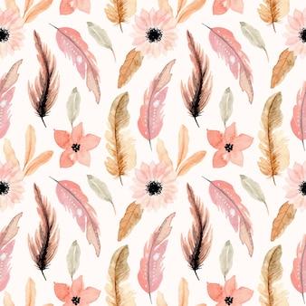 Розовый акварельный цветок и перо бесшовные модели