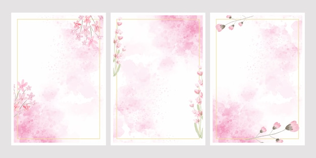 Pink watercolor flower splash background with golden frame collection  for wedding or birthday invitation card