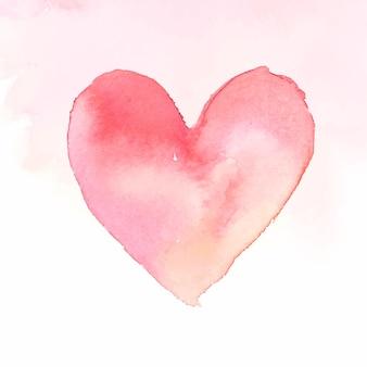 ピンクの水彩ハートアイコンベクトルバレンタインデー版
