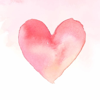 Pink watercolor heart icon vector valentine's day edition