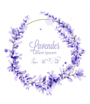Pink watercolor lavender wreath