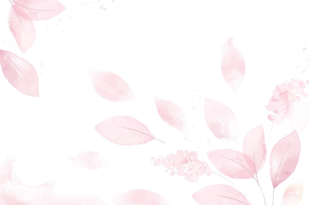 Pink watercolor leaves background
