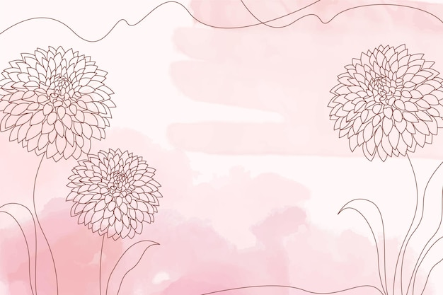 Pink watercolor pastel background with hand drawn flower elements
