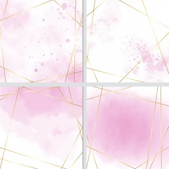 Pink watercolor splash background with golden frame collection