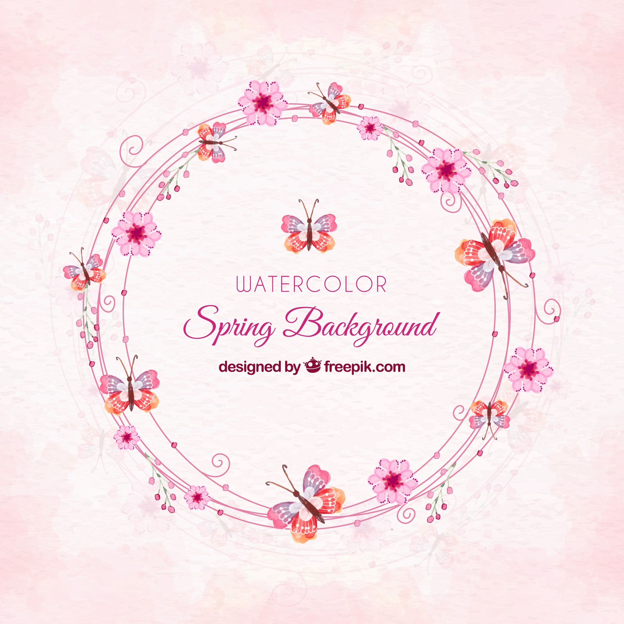 Pink watercolor spring background