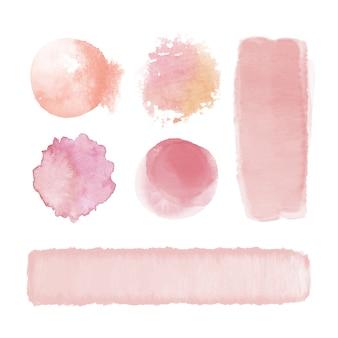 Розовые акварельные пятна и мазки