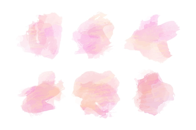 Pink watercolor stains collection