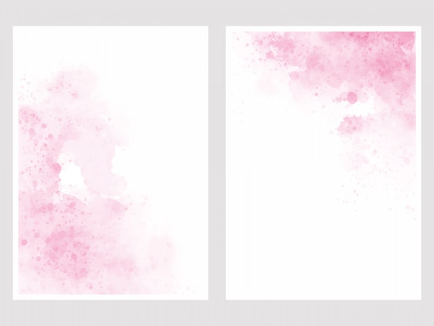 Pink watercolor wash splash 5x7 invitation card background template collection