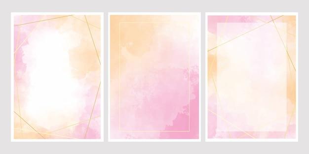 Pink watercolor wash splash with golden frame