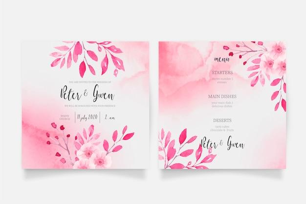 ピンクの水彩結婚式招待状とメニューテンプレート