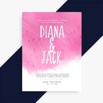 Pink watercolor wedding invitation card