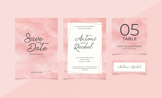 Pink watercolor wedding stationery template