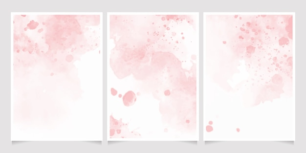 Pink watercolor wet wash splash invitation card background template collection
