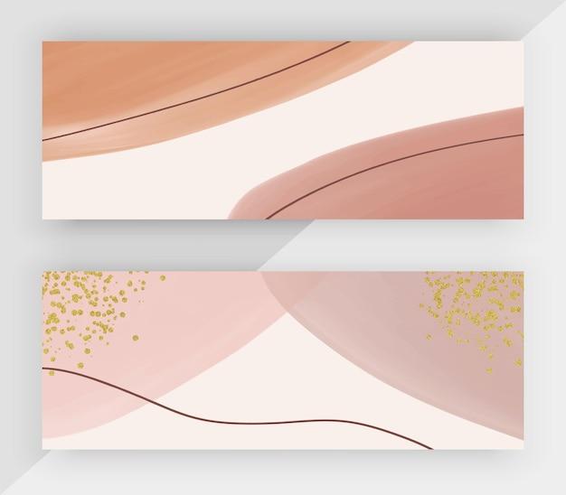 Розовая акварель с золотым блеском текстуры горизонтальные баннеры Premium векторы