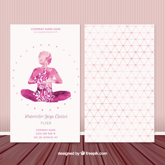 Pink watercolor yoga classes flyer