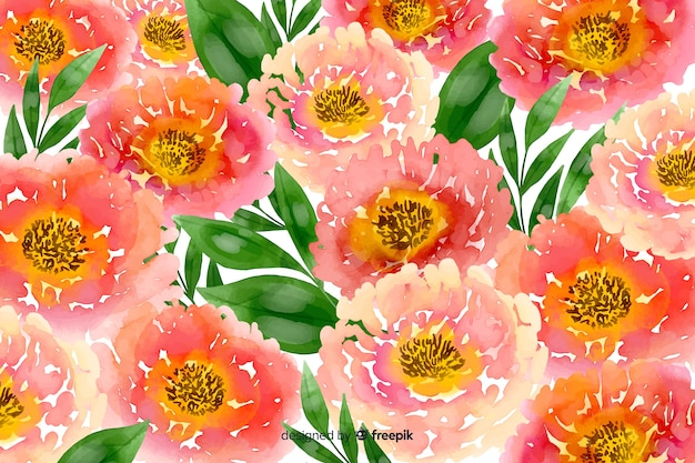Pink watercolour floral background
