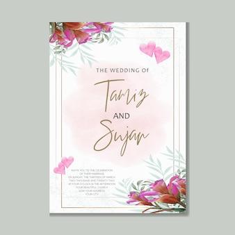 핑크 수채화 꽃 결혼식 초대 카드 템플릿