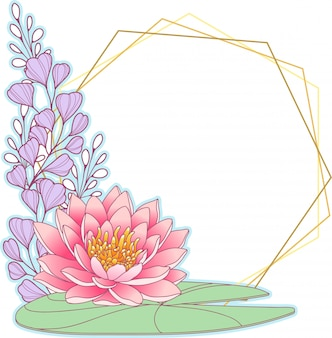 Pink waterlily and geometric frame