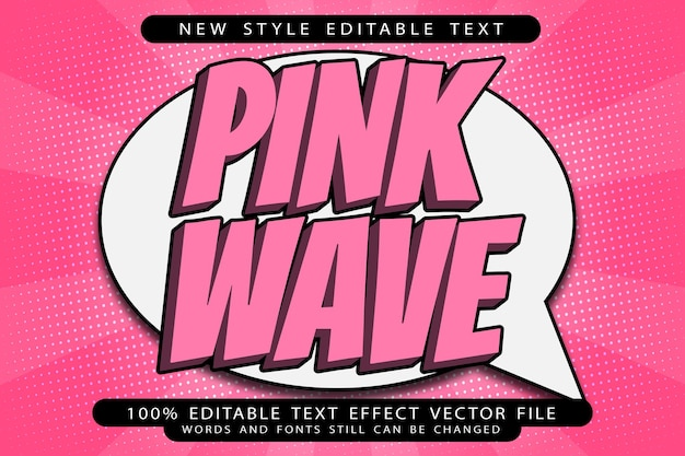 Pink wave editable text effect emboss modern style
