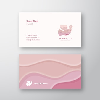 Pink waves peace dove abstract sign or logo