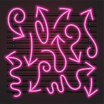 Розовая волнистая стрелка неоновый набор
