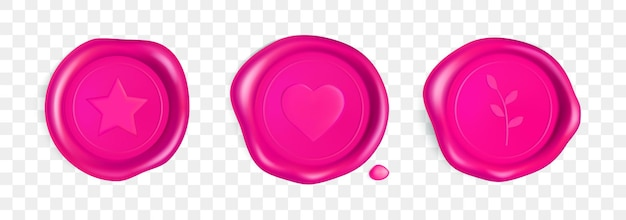 Pink wax seal with heart, branch and star. stamp wax seal with heart, branch and star isolated on transparent background. pink stamps for a postcard, a wedding invitation card. realistic 3d vector