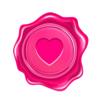 Pink wax seal with heart isolated on transparent background. realistic round retro stamp for postcard, love letter, gift certificate or wedding invitation card
