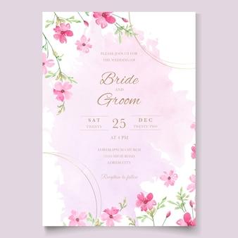 花の水彩テンプレートとピンクのウェディングカード