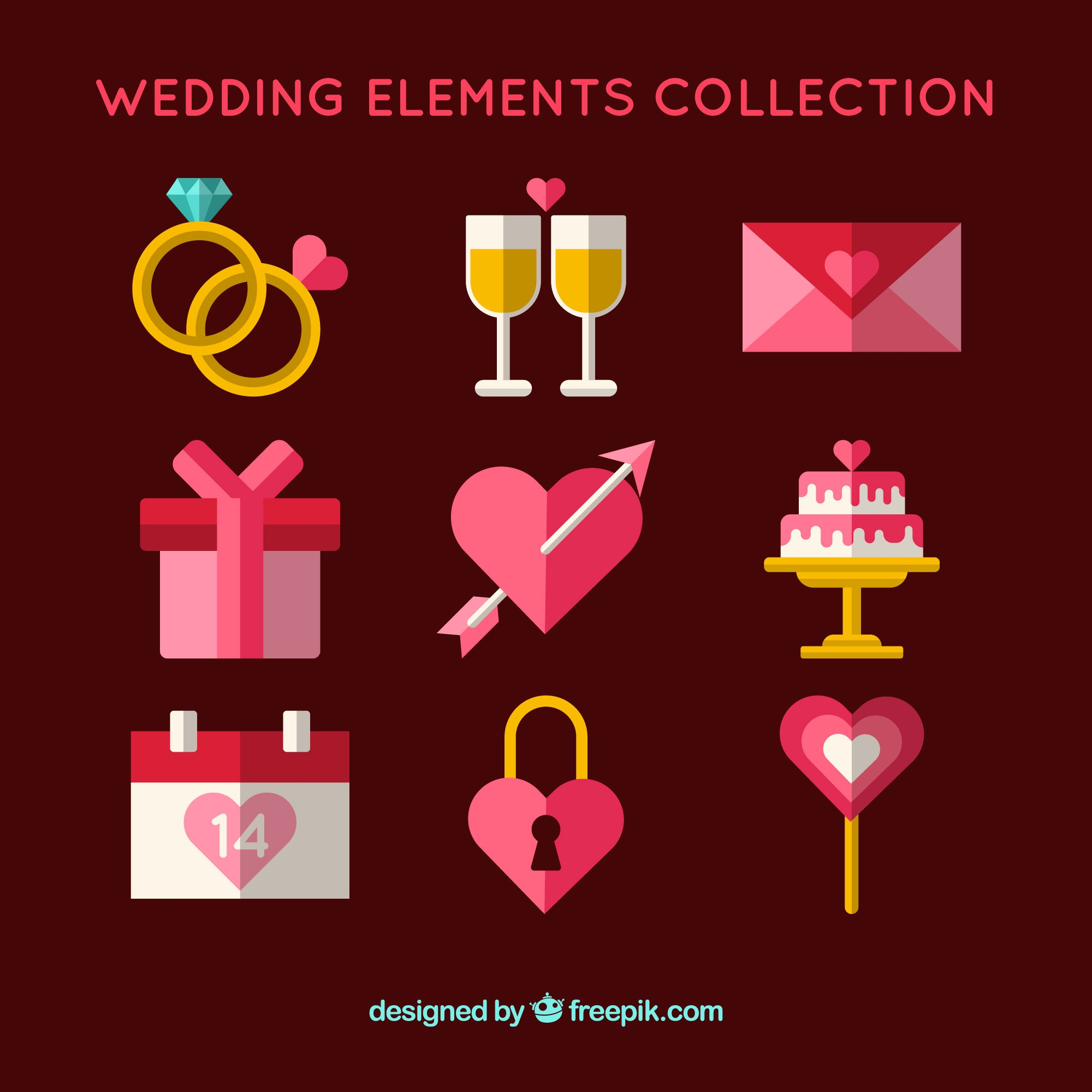 Pink wedding element collection