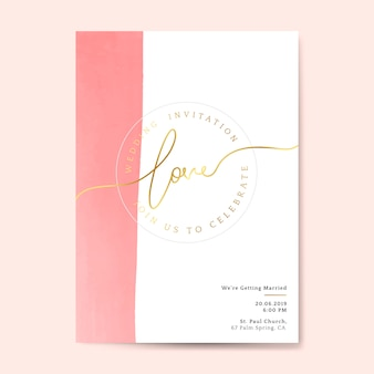 Pink wedding invitation card vector