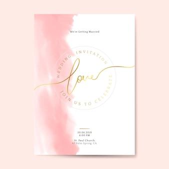Розовая свадьба пригласительный билет вектор