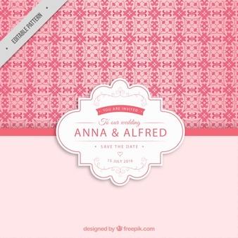 Розовый свадебный узор приглашение